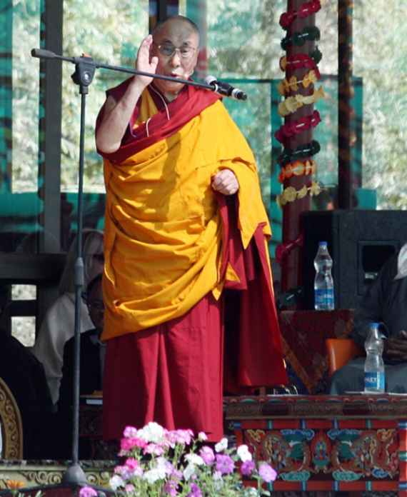 His Holiness Dalai Lama addresses the gathering on his 79th birthday at ongoing 33rd Kalachakra ceremony in Leh, on Sunday