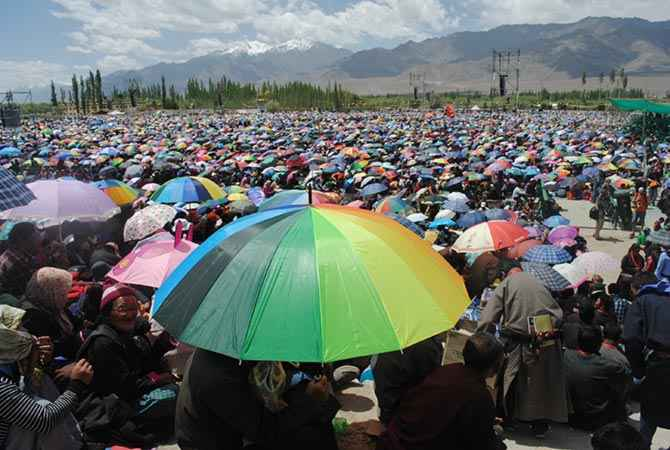 Dalai Lama addresses devotees on his 79th birthday at Leh Kalachakra