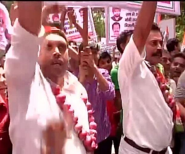 Congress workers shouted out slogans against the BJP-led NDA government in Delhi.