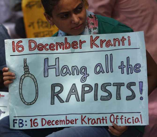 A woman demands justice in the Delhi gang rape case, in which one of the accused was a juvenile