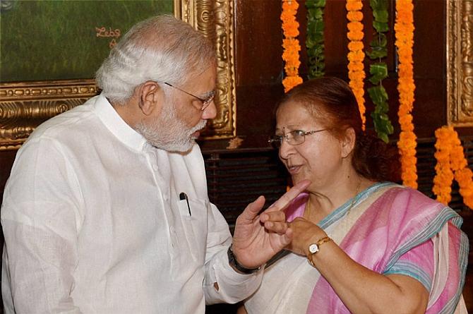 Prime Minister Narendra Modi with Lok Sabha Speaker Sumitra Mahajan