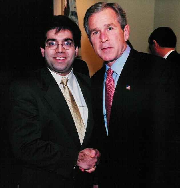 US lawyer Asim Ghafoor, one of the targets of NSA snooping, with then US President George W Bush.