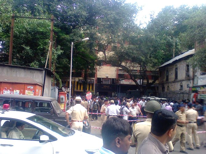 Police cordon off the blast site in Pune