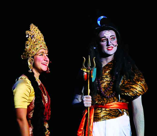 Students of Mount Madonna School perform a scene in 'Ramayana' in San Jose