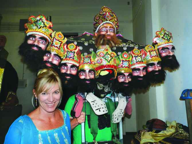 Lara Kilpatrick shows the mask of Ravana