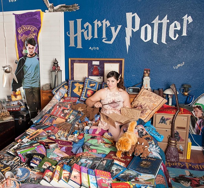 This woman is nuts about Harry Potter memorabilia