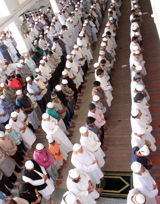 Muslims offer prayers during the holy month of Ramzan.