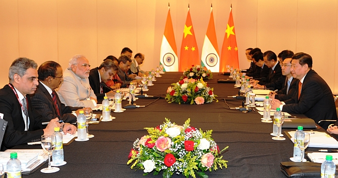 Prime Minister Modi at a bilateral meeting with Chinese President Xi Jinping, on the sidelines of the sixth BRICS Summit