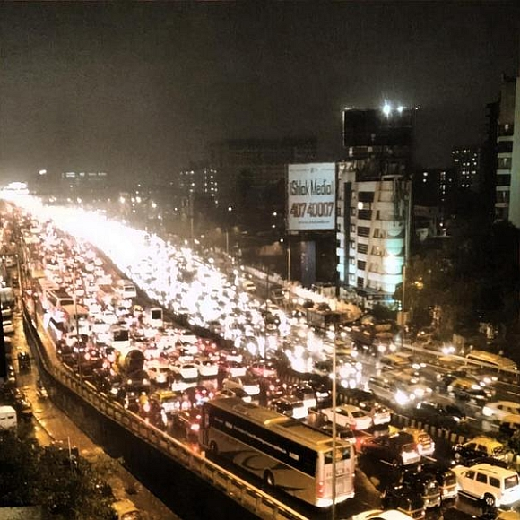 The traffic jam on the Western Express Highway near Andheri
