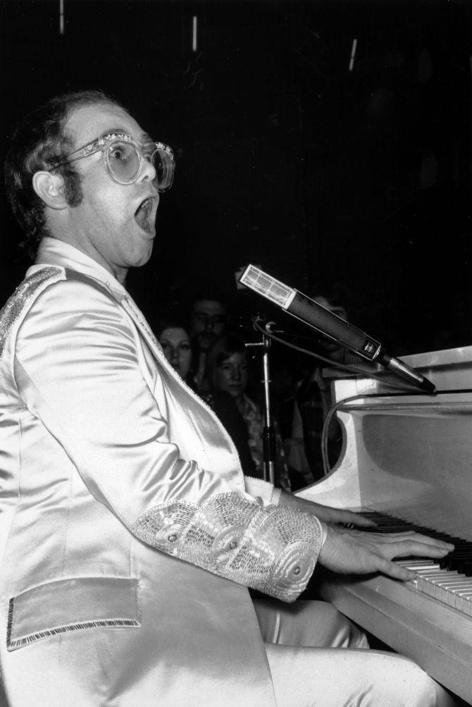 27 year old Elton John, born Reginald Dwight, performing at the Room At The Top, Ilford, London.