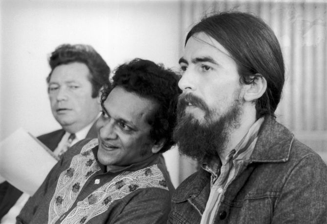 December 1971: Singer-songwriter George Harrison (1943 - 2001), former member of The Beatles, at the Royal Festival Hall with Indian sitar maestro Ravi Shankar, during the time Harrison helped to organise the 'Concert for Bangladesh'.