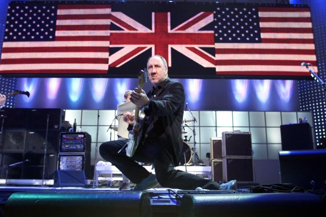 British rock musician Pete Townshend of The Who performs at The Concert for New York City at Madison Square Garden in New York City, New York, October 20, 2001. The show was to benefit victims of the World Trade Center attack.