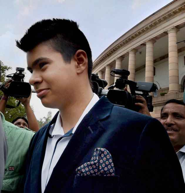 Priyanka Gandhi's son Raihan outside the Parliament
