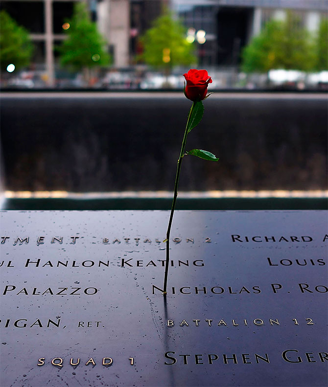 A rose is placed on a name engraved along the South reflecting pool during the dedication ceremony of the National September 11 Memorial Museum in New York.