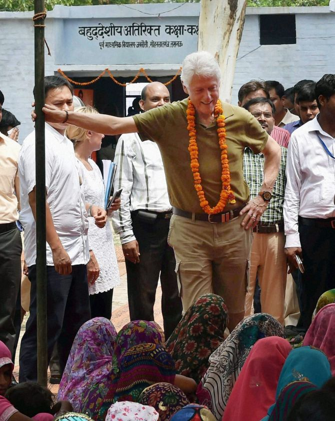 Former US President Bill Clinton at a programme organised by Clinton Health Access intiative in Jabrauli village near Mohanlalganj in Lucknow