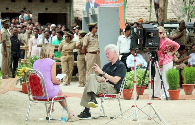 PHOTOS: Clinton meets students in UP village
