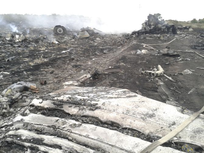 A general view shows the site of a Malaysia Airlines Boeing 777 plane crash in the settlement of Grabovo in the Donetsk region. The Malaysian airliner was shot down over eastern Ukraine by pro-Russian militants