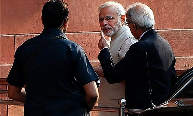 PM Narendra Modi with his principal secretary desiganate