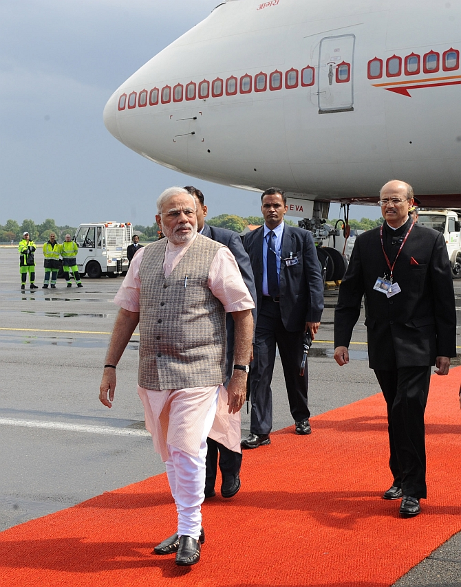 Prime Minister Narendra Modi makes a stopover before he heads for Brazil