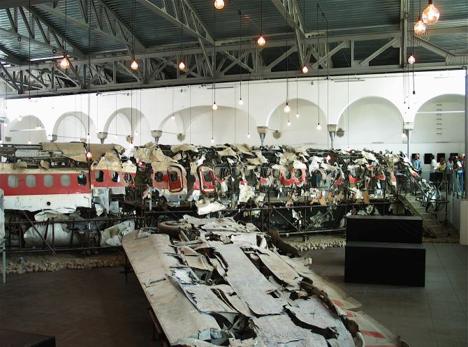 The remnants of the flight stored at the Museum for the Memory of Ustica in Bologna.