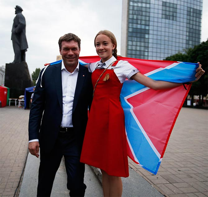 Pro-Russian politician Oleg Tsarev attends a rally in support of Novorossiya (New Russia) at Lenin Square, Donetsk.
