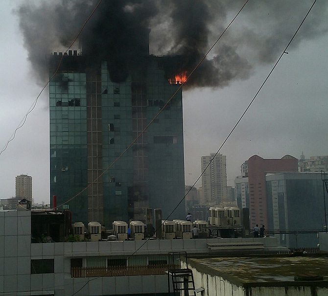 The top floors of the building were on fire