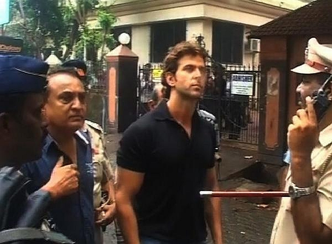 Actor Hrithik Roshan, who has three offices in the building, at the site of the mishap