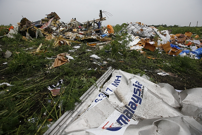 Wreckage from the nose section of a Malaysian Airlines Boeing 777 plane which was downed on Thursday
