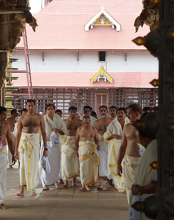 President Pranab Mukherjee at the Sree Padmanabhaswamy temple in Thiruvananthapuram. Also seen in the photograph is Congress MP Shashi Tharoor