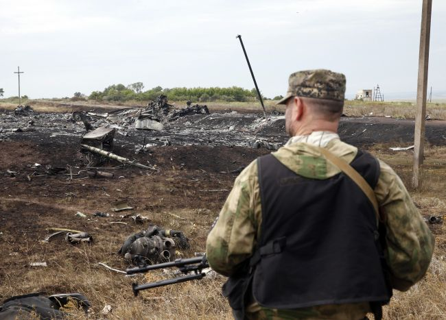 A pro-Russian separatist stands at the crash site of Malaysia Airlines Flight MH17, near the settlement of Grabovo in the Donetsk.
