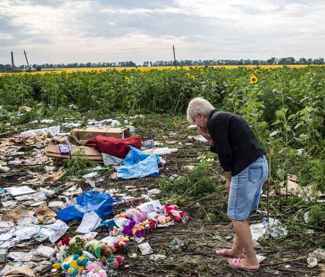 A woman pays her respects at the debris from Malaysia Airlines flight MH 17 which landed in a field of sunflowers