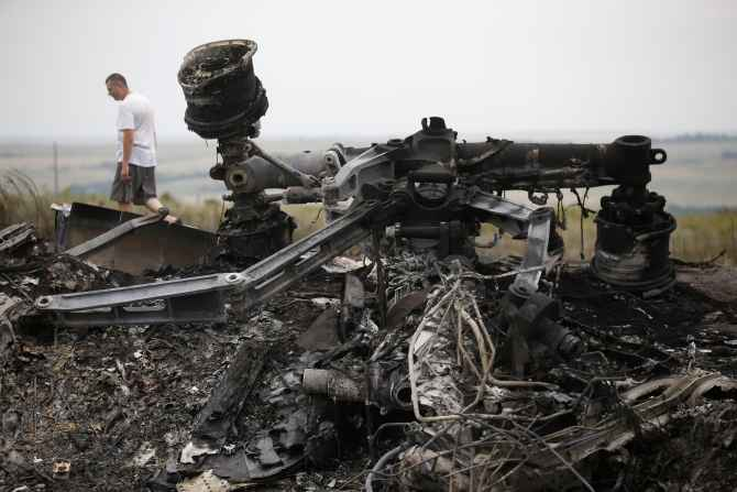 Debris is pictured at the site of Malaysia Airlines Boeing 777 plane crash, near the village of Grabovo