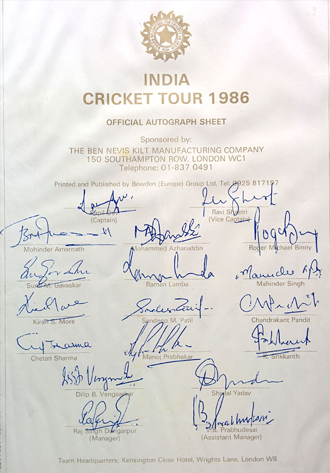 A rare autograph sheet of the Indian cricket team that toured England in 1986, the last time India won a Test at Lord's.