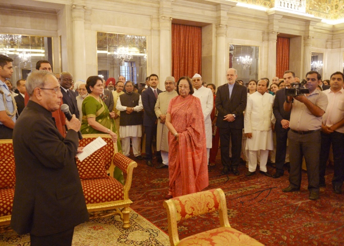 President Pranab Mukherjee addresses the gathering. Also seen in the photograph is Minorities Affairs Minister Najma Heptullah (red saree)