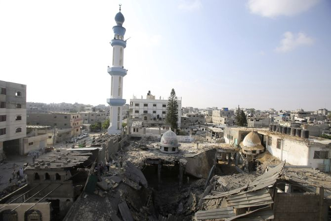 A general view of the remains of a mosque, which police said was hit in an Israeli air strike, is seen in Rafah in the southern Gaza Strip
