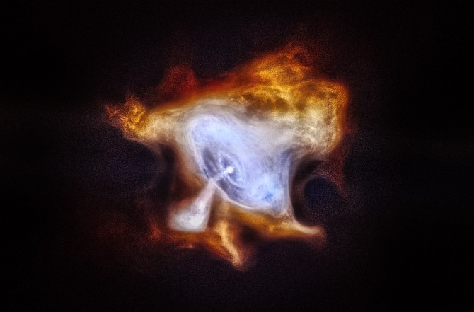This image shows the famous Crab Nebula. In 1054 AD, Chinese astronomers and others around the world noticed a new bright object in the sky. This new star was, in fact, the supernova explosion that created what is now called the Crab Nebula. At the center of the Crab Nebula is an extremely dense, rapidly rotating neutron star left behind by the explosion. The neutron star, also known as a pulsar, is spewing out a blizzard of high-energy particles, producing the expanding X-ray nebula seen by Chandra. In this new image, lower-energy X-rays from Chandra are red, medium energy X-rays are green, and the highest-energy X-rays are blue.