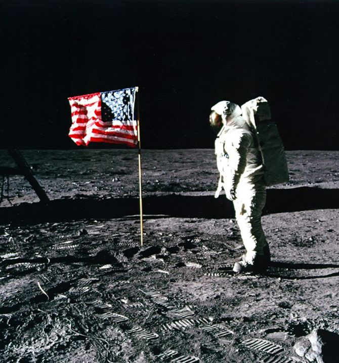 United States astronaut Buzz Aldrin salutes the American flag on the surface of the Moon after he and fellow astronaut Neil Armstrong became the first men to land on the Moon during the Apollo 11 space mission.