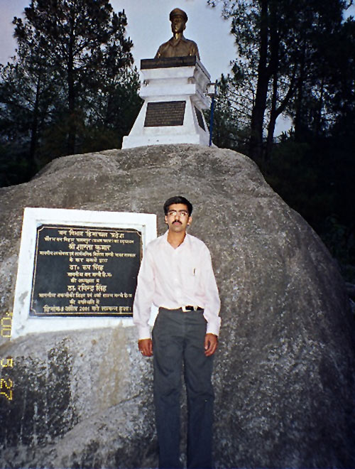 Behind Vaibhav is Saurabh's statue and the rock his brother liked very much. The park has been named Saurabh Van Vihar.