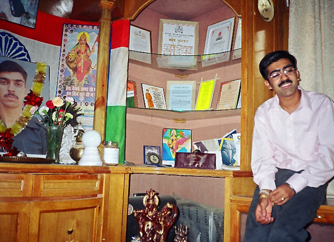 Vaibhav Kalia in a room full of his brother Lt Saurabh Kalia's memories in 2004.