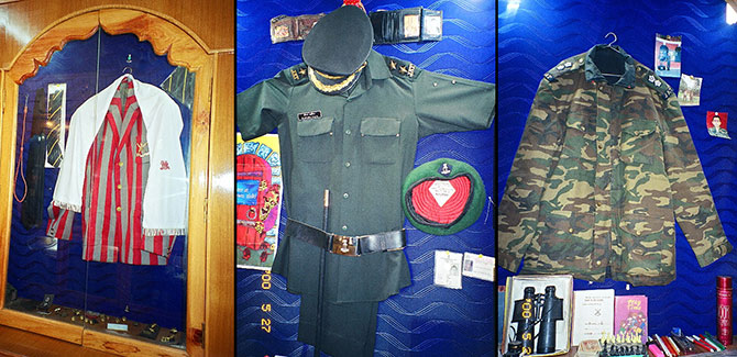 Lt Saurabh Kalia's military uniforms and gear are preserved in the museum at the Kalia home.