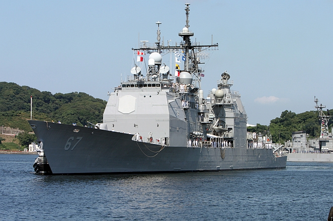 The USS Shiloh, the first missile-defence capable ship to be deployed to Japan