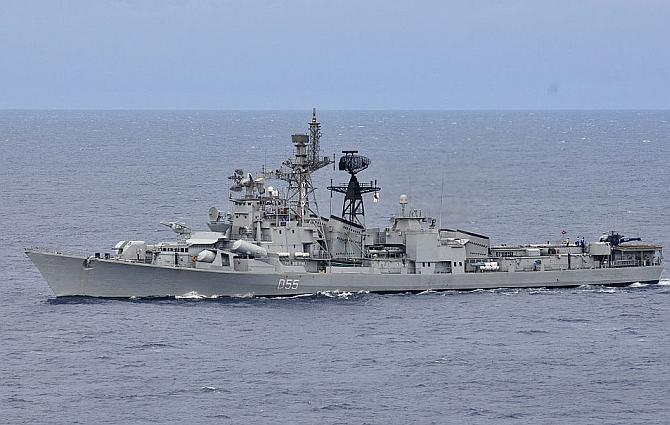 The Indian navy fleet oiler INS Shakti is underway with ships of Carrier Strike Group 1 during Exercise Malabar 2012