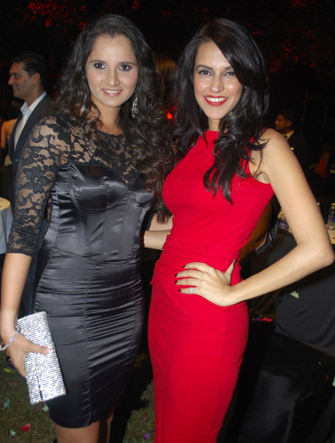 Sania Mirza is all smiles as she poses with Bollywood actress Neha Dhupia in Mumbai