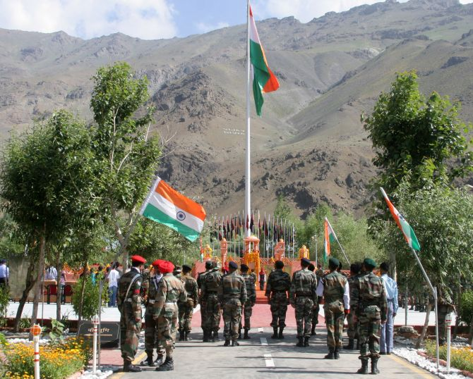 Indian Army soldiers pay their respects at the spot in Drass Sector in Kargil.