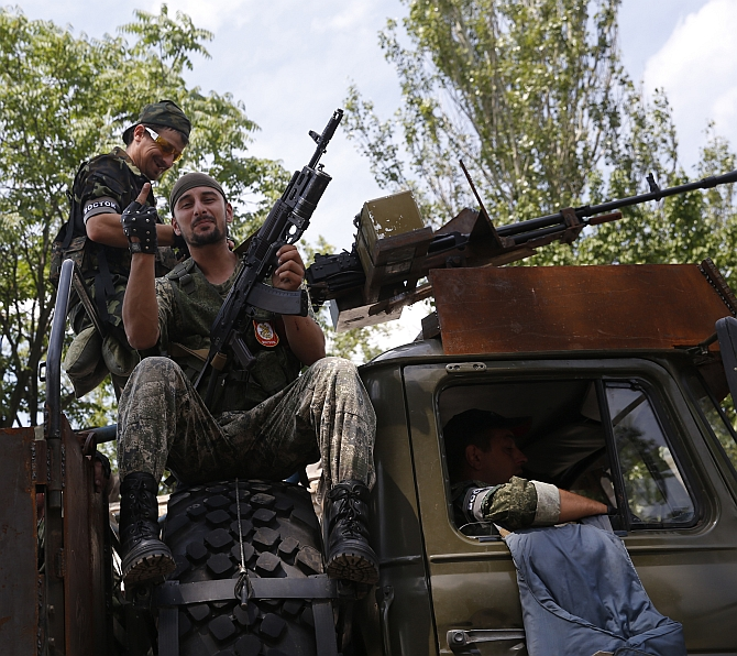 Pro-Russian separatists from the so-called Battalion Vostok (East) set out from a base in the eastern Ukrainian city of Donetsk.