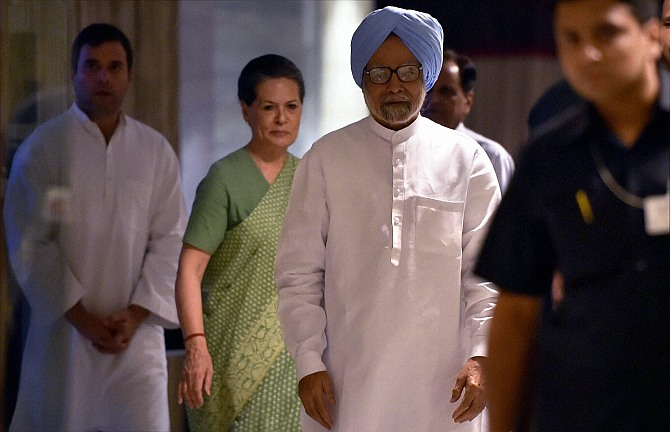Former Prime Minister Manmohan Singh, Congress President, Sonia Gandhi and party vice president Rahul Gandhi