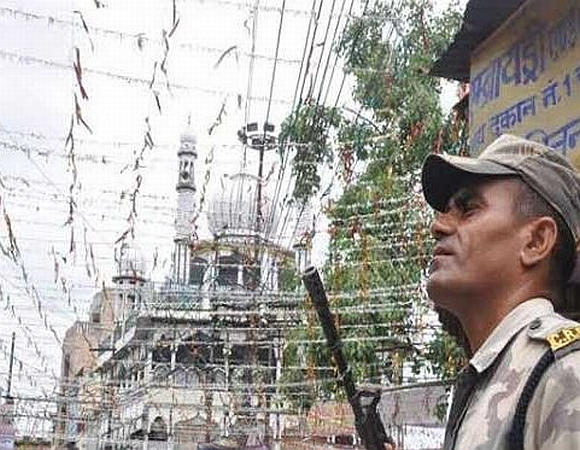 A security personnel on gaurd in Saharanpur