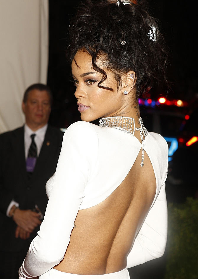 Singer Rihanna arrives at the Metropolitan Museum of Art Costume Institute Gala Benefi in New York