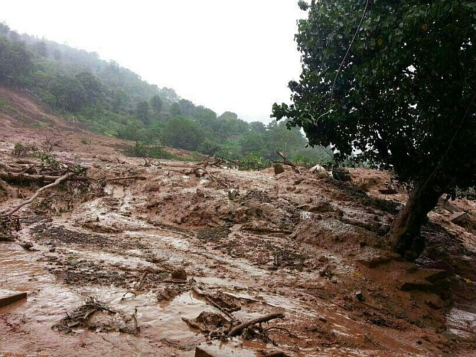 44 houses were buried in the landslide