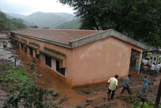 A school building affected by the landslide